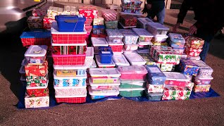 Shoeboxes that were collected by CFH
